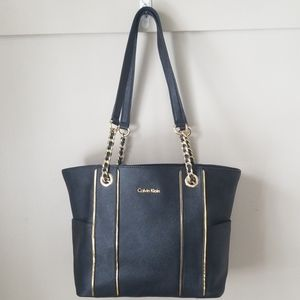 Calvin Klein Black coated canvas tote chain gold